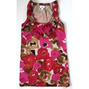 ANN TAYLOR LOFT Pink Red Floral Watercolor Dress